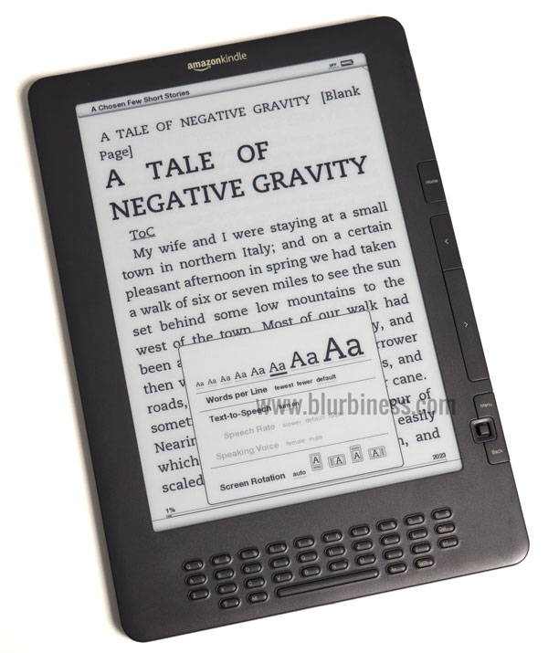 Changing the font size in an eBook reader