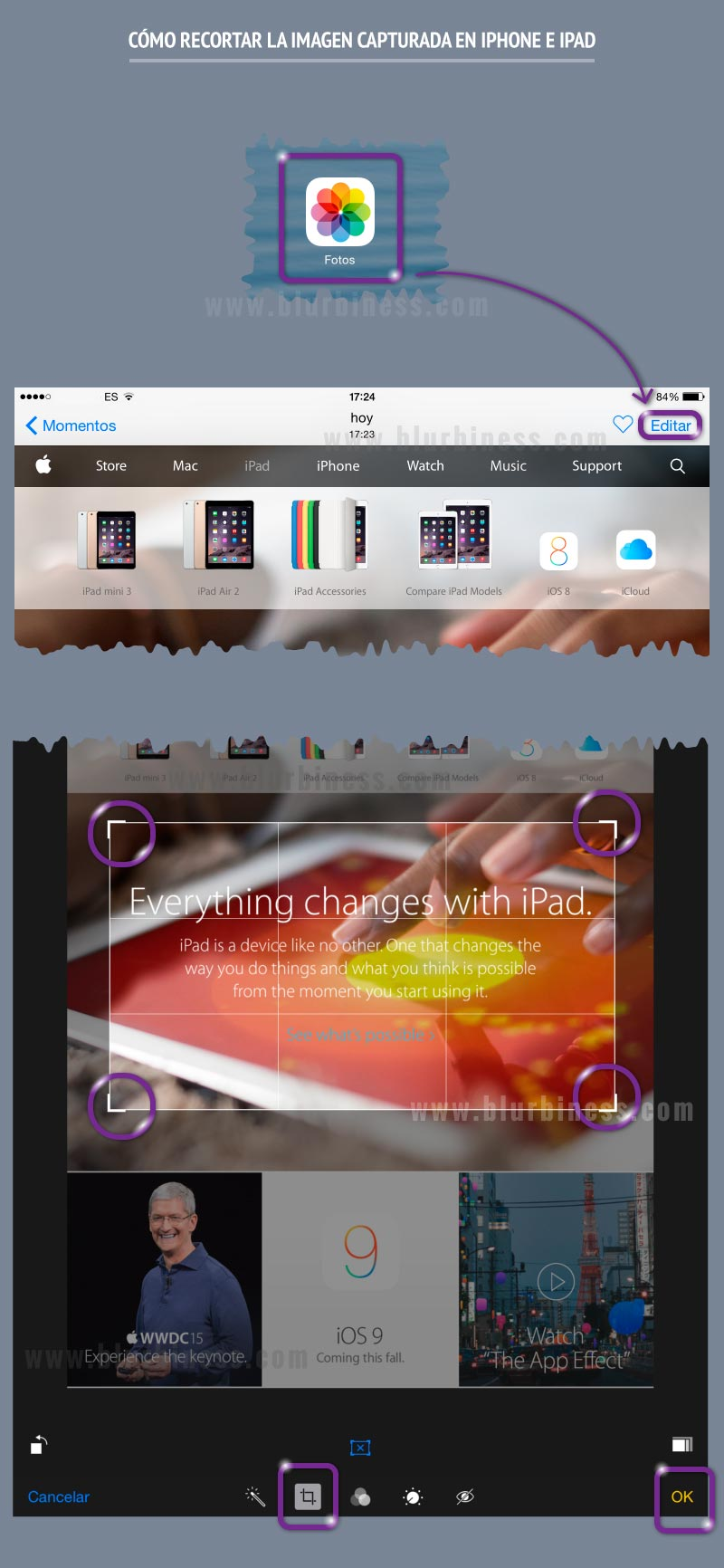 Cómo recortar la imagen capturada en iPhone e iPad