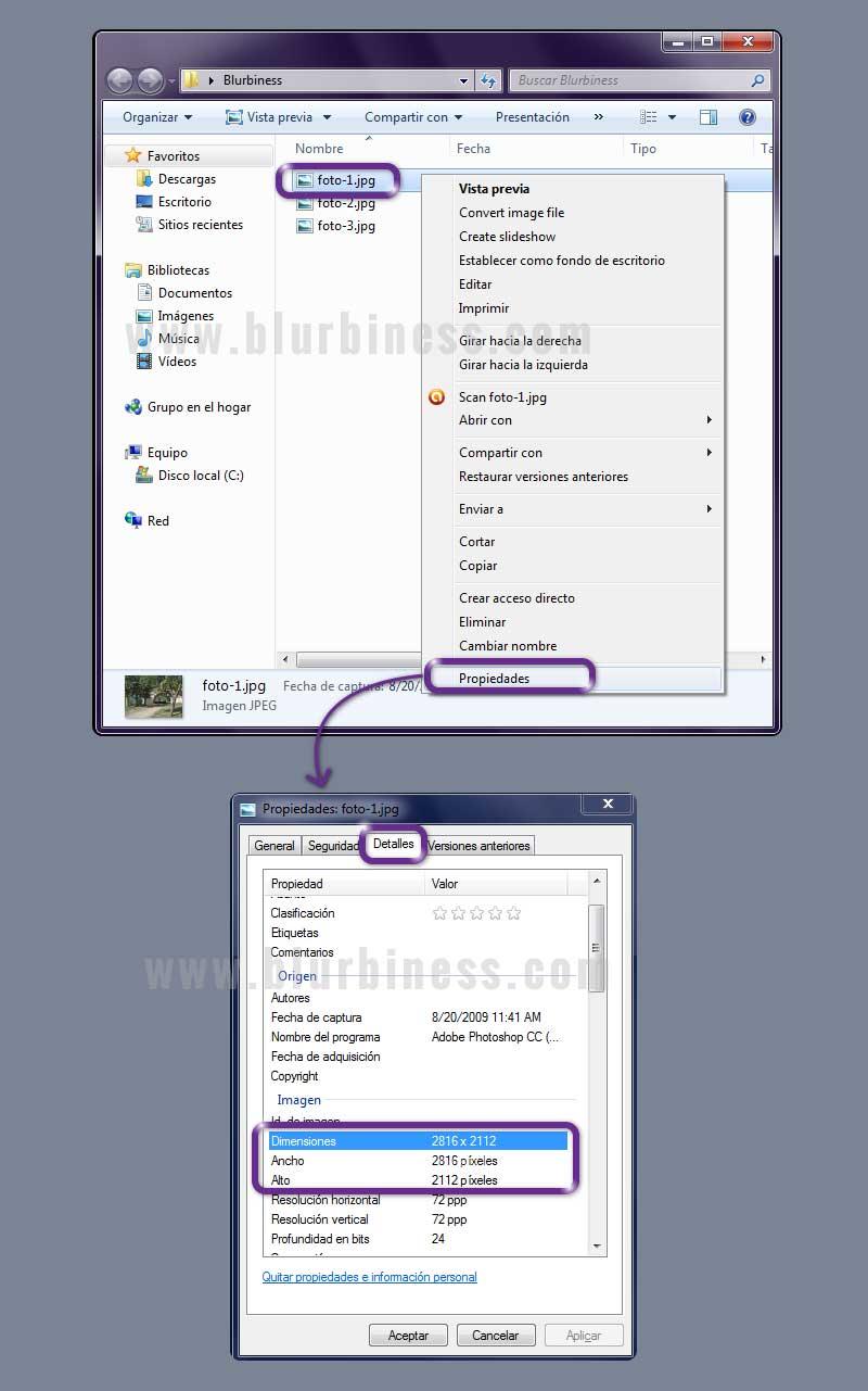 Cómo saber la resolución de una foto en Windows