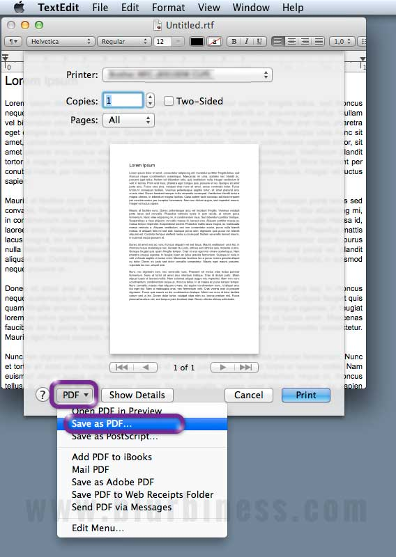 Creating PDF in Mac