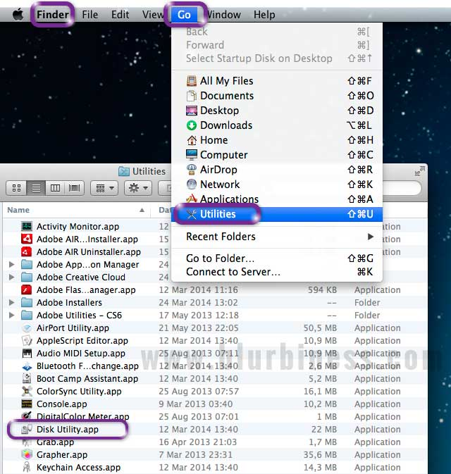 Launching Disk Utility from Finder in Mac