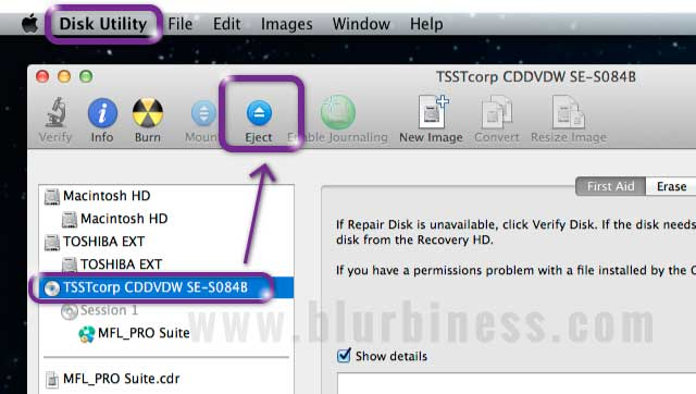 Ejecting a CD/DVD with Disk Utility in Mac