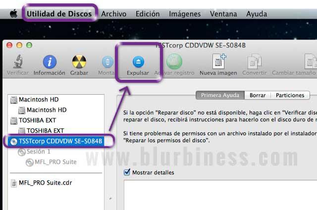 Expulsar disco CD/DVD con la Utilidad de Discos en Mac