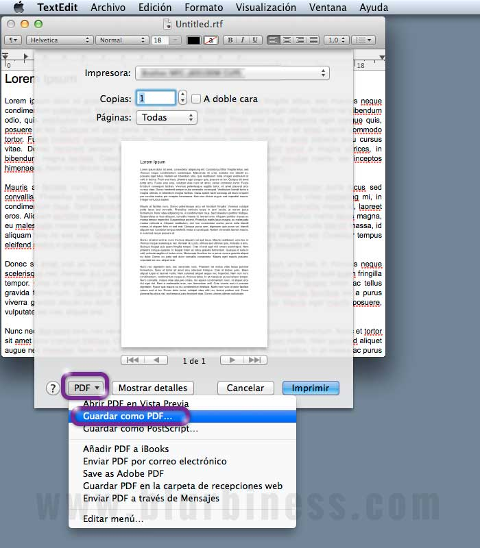Generar PDF en Mac