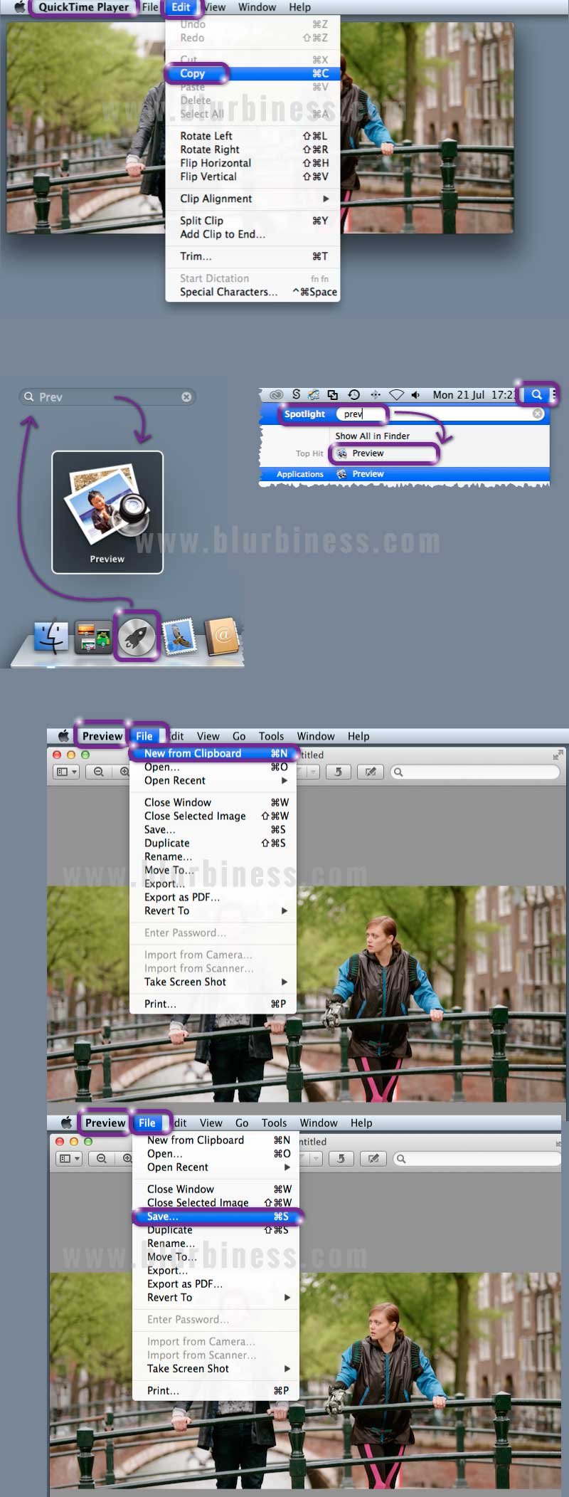 How to get a picture from a video with QuickTime