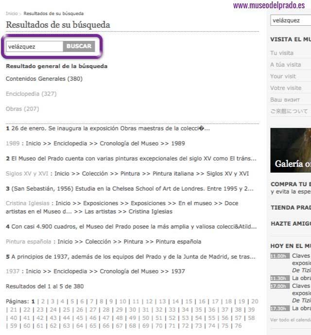 Google buscar site en Museo del Prado
