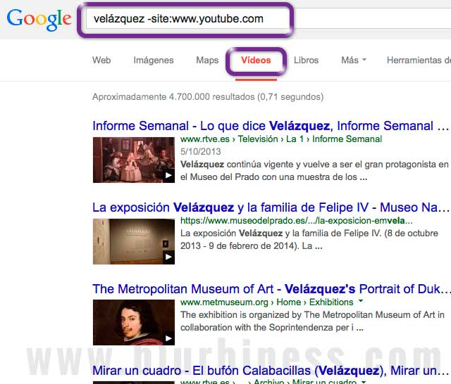 Google buscar -site videos no Youtube