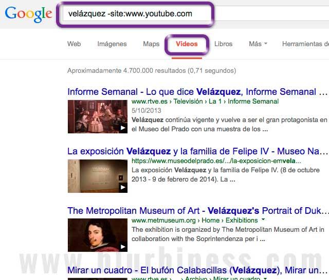 Google buscar -site videos no Youtube