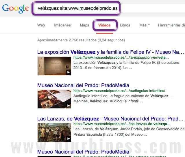 Google buscar site vídeos
