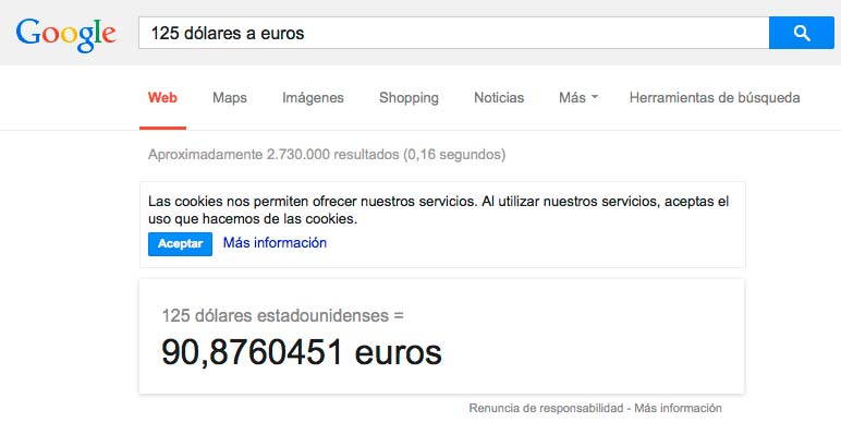 Conversor de unidades de Google