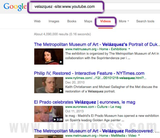 Google search videos exclude site