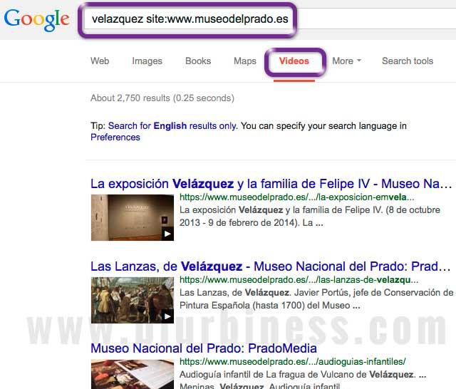 Google search site videos