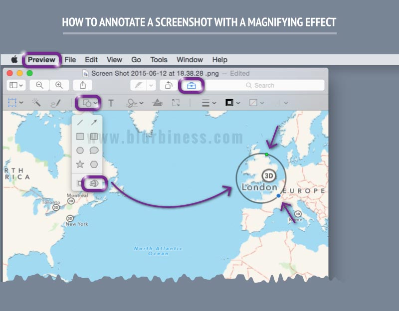 How to annotate a screenshot with a magnifying effect in Mac