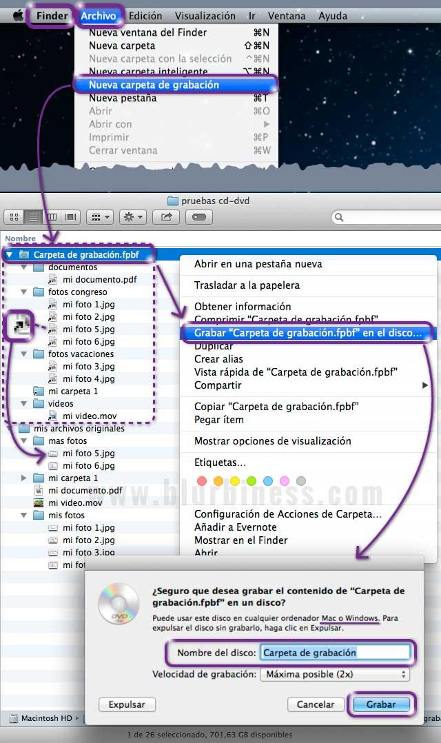 Carpeta de grabación CD/DVD en Mac