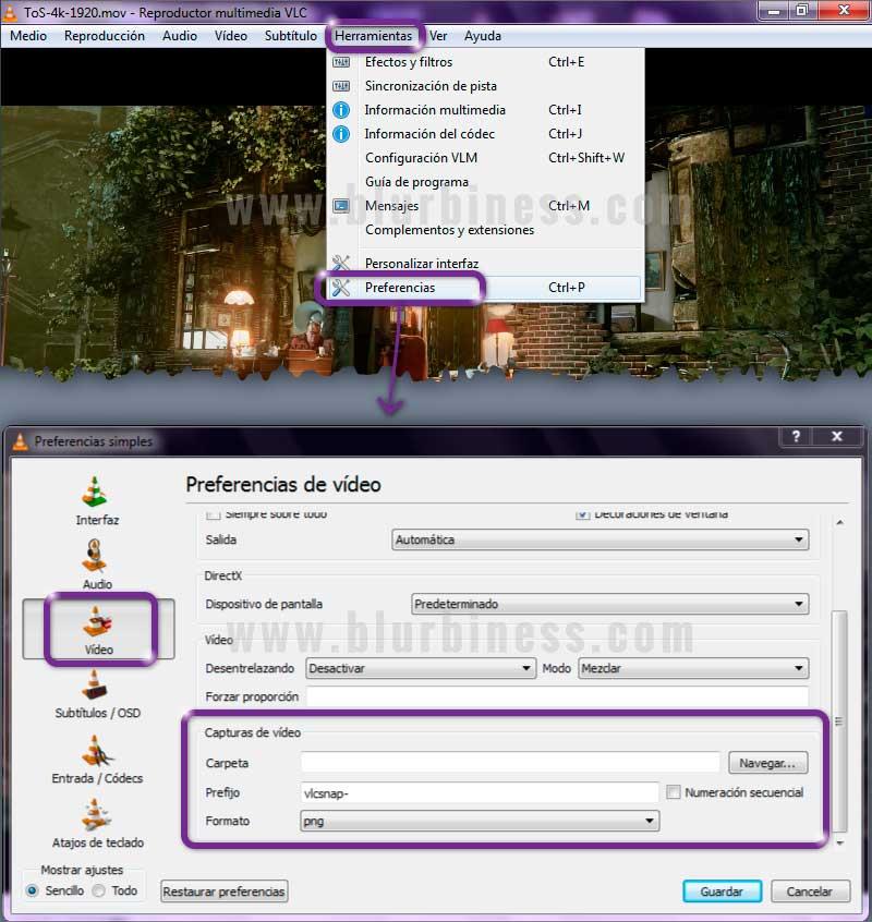 Opciones de capturar imagen de vídeo con VLC