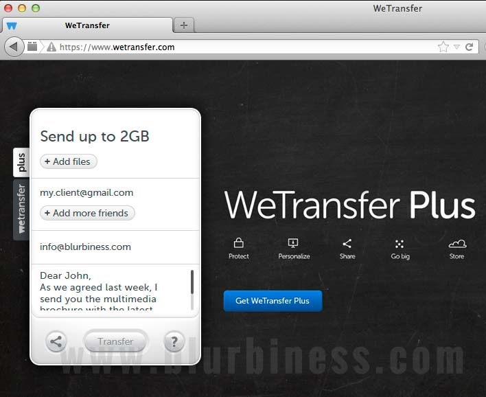 Sending big files by email with WeTransfer