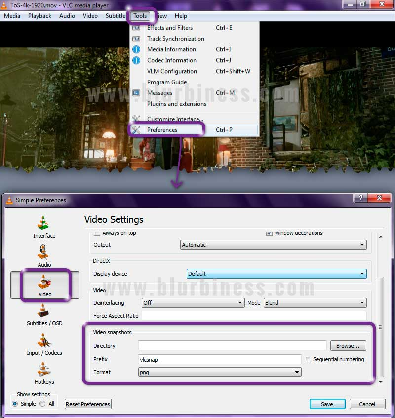 VLC settings for taking snapshots from videos