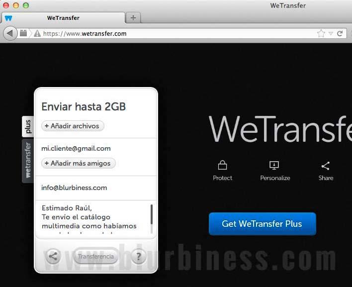 Enviando archivos grandes por email con WeTransfer
